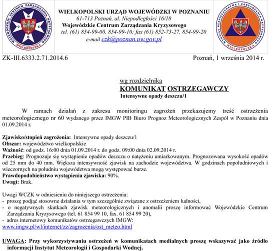1 września 2014 r. - Komunikat ostrzegawczy Intensywne opady deszczu/1