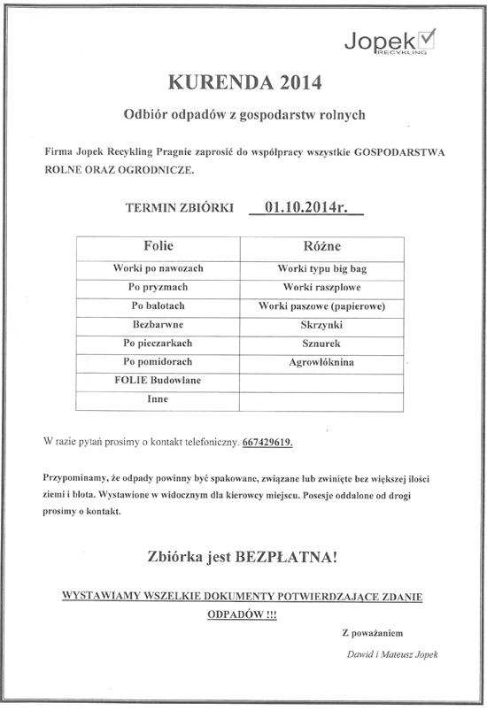 1 października 2014 r. - Odbiór odpadów zgospodarstw rolnych