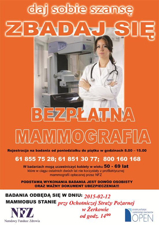 12 lutego 2015 r. - Bezpłatne badania mammograficzne