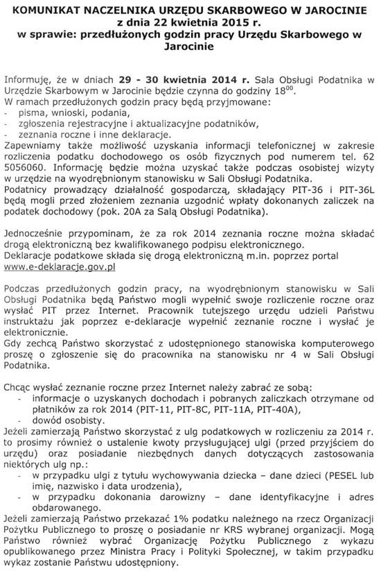 29-30 kwietnia 2015 r. - Przedłużone godziny pracy Urzędu Skarbowego w Jarocinie