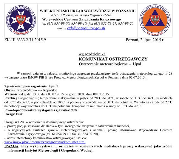 2 - 8 lipca 2015 r. - Ostrzeżenie meteorologiczne - upał