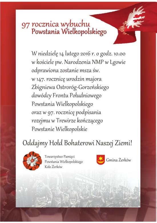14 luty 2016 r. - uroczyste obchody 147. rocznicę urodzin majora Zbigniewa Ostroróg-Gorzeńskiego dowódcy Frontu Południowego Powstania Wielkopolskiego
