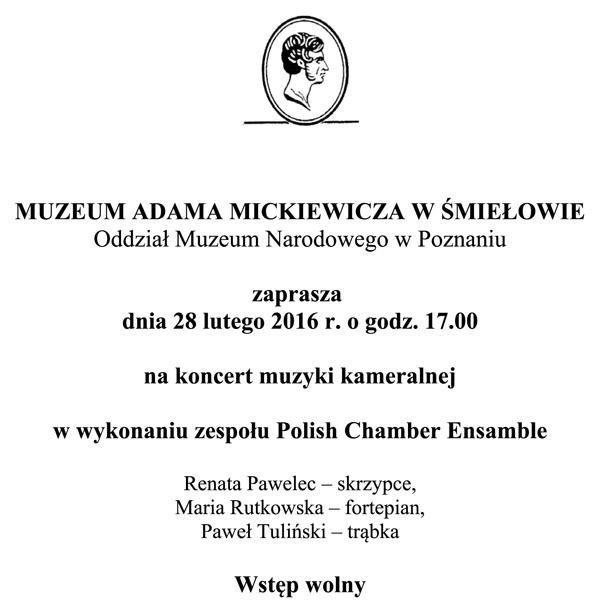 28 lutego 2016 - Koncert muzyki kameralnej wwykonaniu zespołu Polish Chamber Ensamble