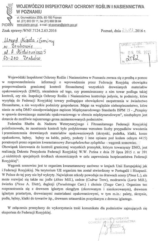 10 sierpnia 2016 r. - Informacja Wojewódzkiego Inspektoratu Ochrony Roślin i Nasiennictwa w Poznaniu