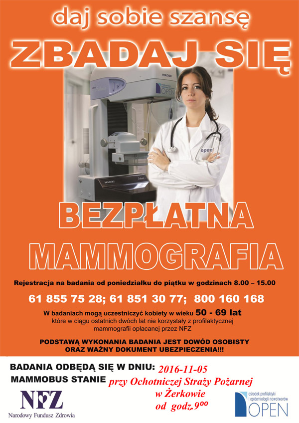 5 listopada 2016 r. - Bezpłatna mammografia