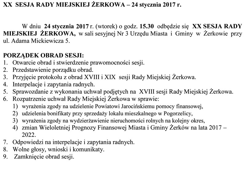 24 stycznia 2017 r. - XX sesja Rady Miejskiej Żerkowa