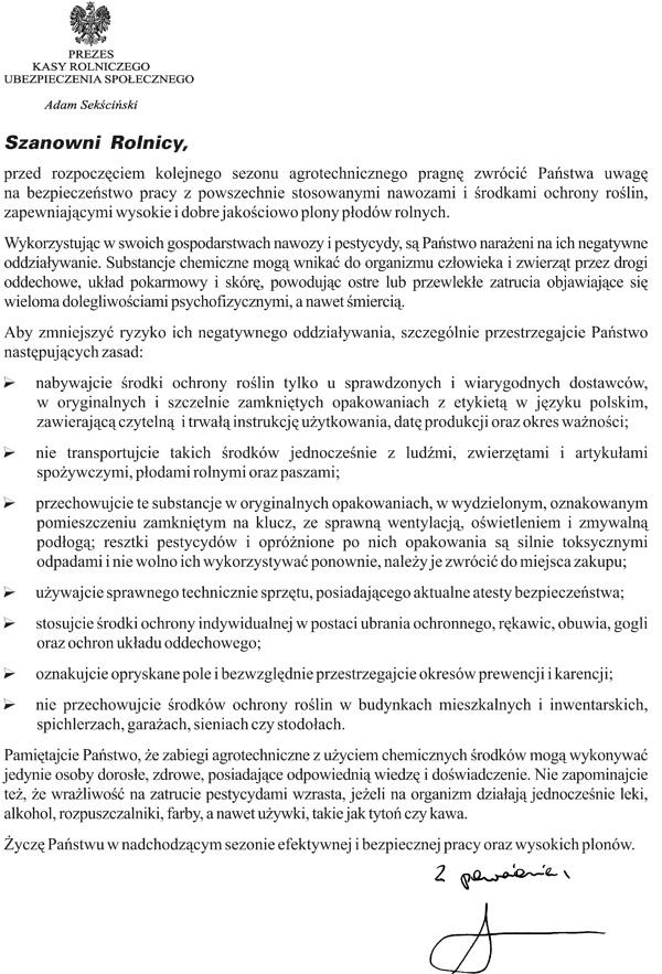 15 marca 2017 r. - bezpieczne stosowanie środków ochrony roślin -  informacja Prezesa KRUS
