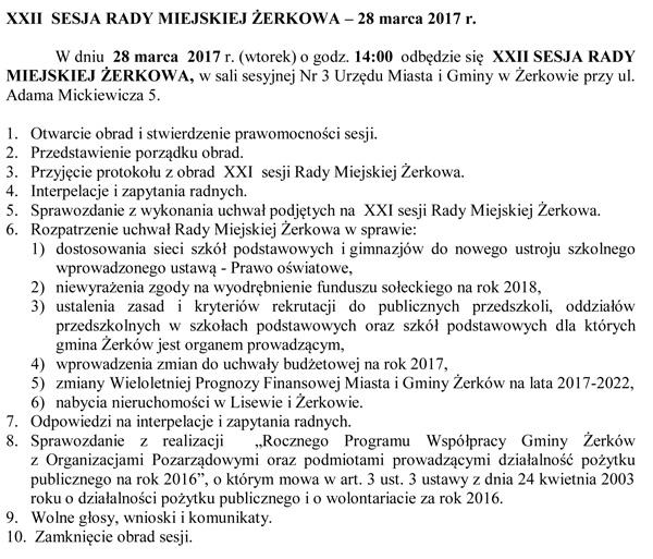 28 marca 2017 r. - XXII SESJA RADY MIEJSKIEJ ŻERKOWA