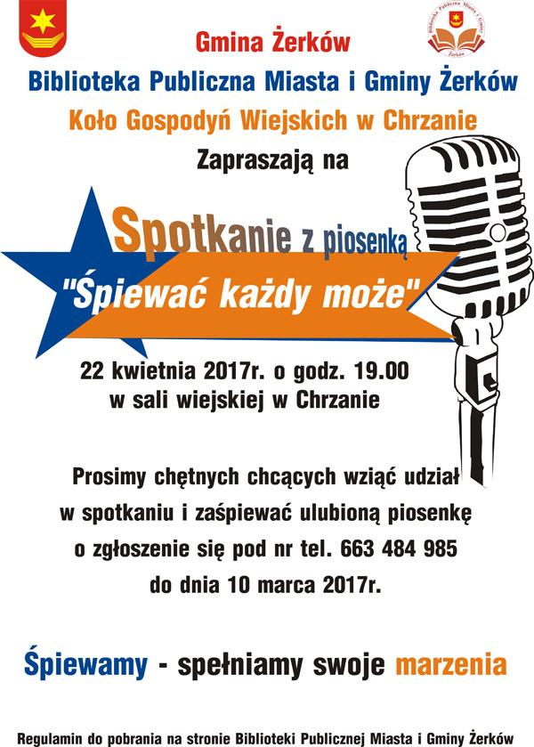 22 kwietnia 2017 r. - Spotkanie zpiosenką: ˝Śpiewać każdy może˝ - Chrzan
