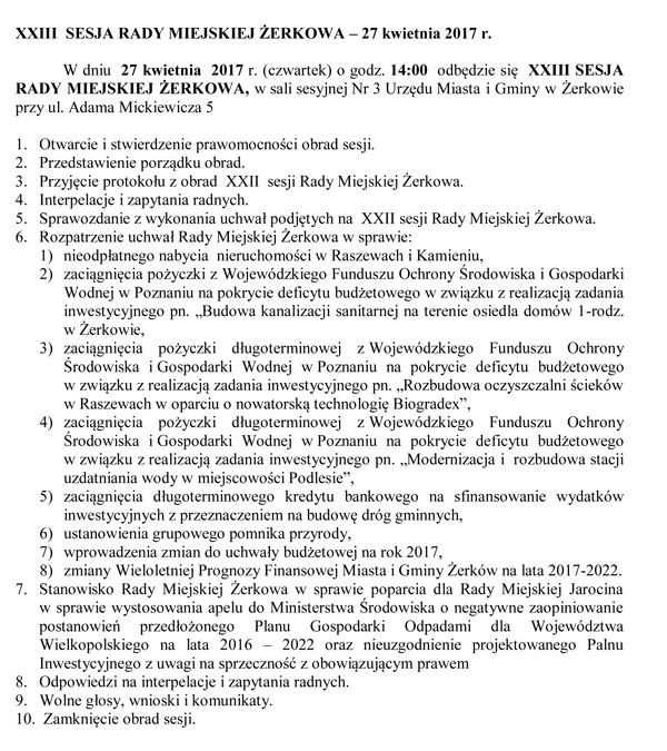 27 kwietnia 2017 r. - XXIII sesja Rady Miejskiej Żerkowa