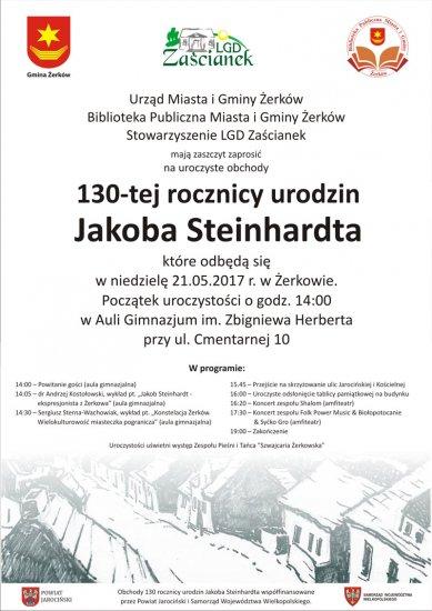 21 maja 2017 r. -  Uroczyste obchody 130-tej rocznicy urodzin Jakoba Steinhardta