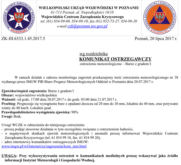 20 lipca 2017 r. - Ostrzeżenie meteorologiczne – Burze zgradem/1