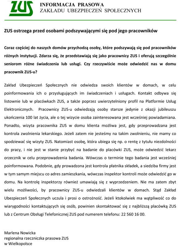 21 lipca 2017 r. - ZUS ostrzega przed osobami podszywającymi się pod jego pracowników