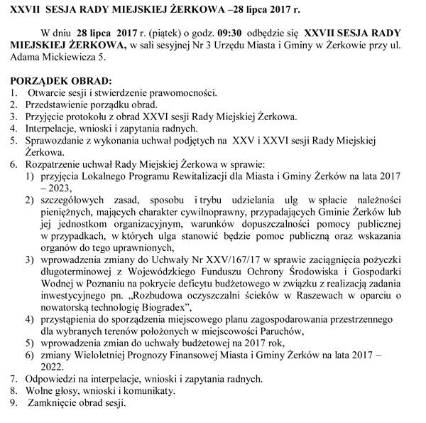 28 lipca 2017 r. - XXVII SESJA RADY MIEJSKIEJ ŻERKOWA